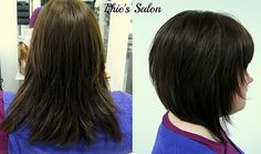 Phie's Salon razored bob brown hair before and after restyle