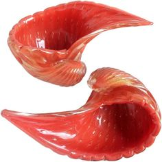 Alfredo Barbini Murano Orange Gold Flecks Italian Art Glass Seashell Bowls | From a unique collection of antique and modern bowls and baskets at https://www.1stdibs.com/furniture/decorative-objects/bowls-baskets/
