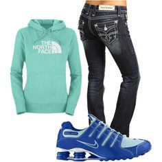 north face sweat shirt, rock revival jeans, and nike shox..