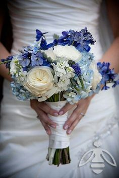Hand Tied Bridal Bouquet Made Of Blue Delphinium, Antique Blue Hydrangea, White English Garden Roses, White Stock & Blue Veronica>>>>