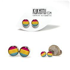 Pansexual Pride Stud Earrings Pansexual Jewelry by KUKAJTUcom, $8.00