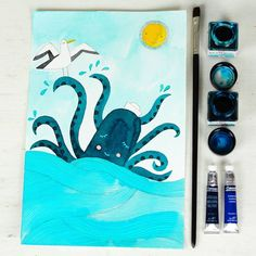 Dreaming with the ocean...  Blue octopus in the sea with a seagul illustration watercolor  - by PinkNounou