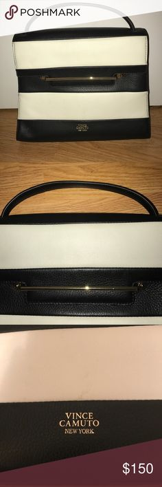❗️New: Vince Camuto Top Handle Vince Camuto Top Handle - Black and White Stripe with Gold Bar Hardware Detail - Attachable and Adjustable Crossbody Strap - Pocket on Back - Branding on Front and Back - Inside Zip Pocket and Open Pocket Vince Camuto Bags Satchels