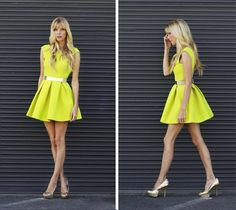 Neon dress with metallic belt & glitter pumps   CLICK ...