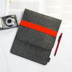 FELT iPad case iPad bag iPad covers iPad Sleeve iPad Holder with Orange Elastic Strip- Handmade Felt iPad Holder Personalized E1146org. $28.00, via Etsy.