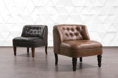 Manchow accent chair in leather from  TW - www.teakandwalnut.com