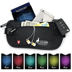 Money Belt For Travel with 1x Passport and 6x Credit Card Protector RFID Sleeves >>> Learn more by visiting the image link.