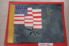 American flag with fireworks - 2nd grade art project