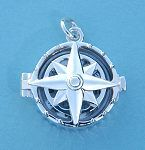 Compass Rose Silver Compass Locket with Cover Closed