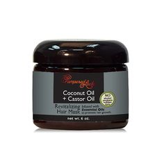 Coconut Oil + Castor Oil Hair Mask $8.99  • Coconut oil is a natural conditioner that bonds with protein in the hair shaft to strengthen hair and reduce breakage. • Castor oil aides in longer & stronger hair growth.  • Infused with four (4) essential oils for hair that stimulate the scalp to promote hair restoration & hair growth. • Use as a deep conditioning treatment before shampooing, or leave in for styling, instant shine, and all day flyaway & frizz control.