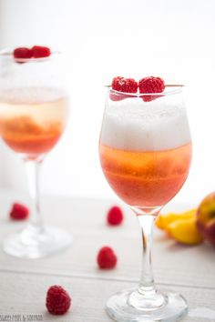 Peach & Raspberry Bellinis