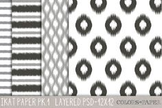 Layered Ikat Photoshop Files Pk. 1 by Colors on Paper on Creative Market
