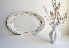 Large oval platter, Irish rose and shamrock, Homer Laughlin white serving platter, St. Patrick's Day dinnerware, gold clover pink rose 1920s...