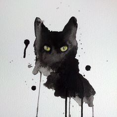 Black cat watercolor print 8x10 archival giclee black wall art ❤ liked on Polyvore featuring home, home decor, wall art, black wall art, watercolour painting, black paintings, water colour painting and giclee painting
