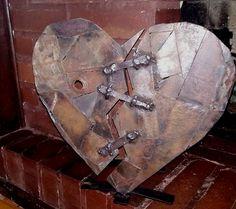 Scrap metal welded industrial broken heart