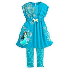 Disney Jasmine Woven Dress Set for Girls   Disney StoreJasmine Woven Dress Set for Girls - Golden thread weaves an exotic floral design against the aqua fabric of this Jasmine Woven Dress Set for Girls. The coordinating leggings combine to create a glamorous look befitting a sultan's daughter.