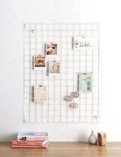 pastel & neutrals home office, wire mesh memo board