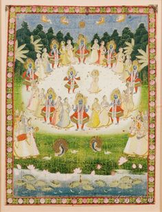 Ink and colors on cloth, India, century, scene of Krishna dancing with the gopis Krishna Painting, Krishna Art, Pichwai Paintings, Paintings For Sale, Dossier Photo, Traditional Paintings, Indian Art, Hare, 18th Century