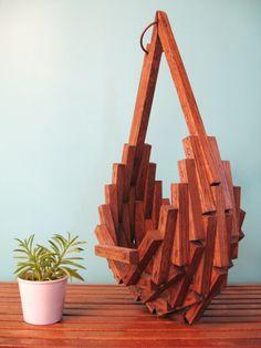 70s MODERN Abstract Wood HANGING BASKET Plant Holder. $75.00, via Etsy.