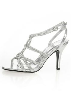 88b8a9f38262 Quiz Silver Diamante Ankle Strap Mid Heel Sandals on shopstyle.co.uk