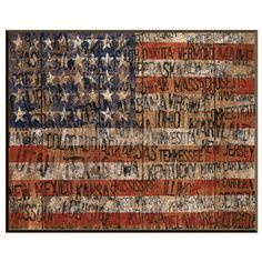 Inverse-framed giclee with a weathered American flag motif.