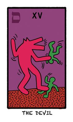 The Tarot of the World in Colours is a 24 cards homage to the American artist, Keith Haring, best known for his New York graffiti visual style. The card illustrations have simplified tarot imagery drawn in appreciation of his artistic style.
