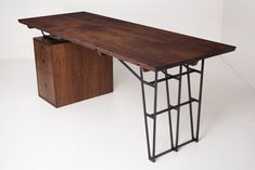 Bartizan Desk with solid walnut top and walnut plywood box and drawers. Hand rubbed oil and wax finish.
