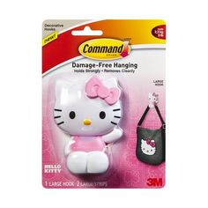 3M Command Hello Kitty Large Hook (00051141369730) 3M Command Hello Kitty Large Hook: Damage-free hanging Weight capacity: 5 lbs Size: large Package contents: 1 hook and 2 strips Holds strongly