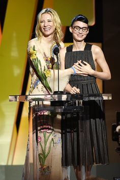 Cate Blanchett and Rooney Mara speak onstage during the 2016 Film Independent Spirit Awards on February 27, 2016 in Santa Monica, California.