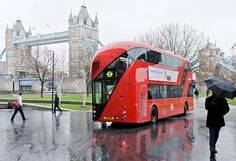 A prototype of London's new double-decker bus, a modern version of the old Routemaster