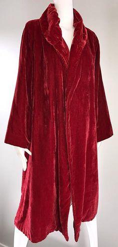 1920s Silk Velvet Blood Red Vintage 20s Luxurious Opera Flapper Jacket Coat