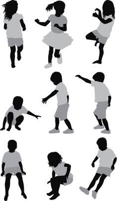 Vectores libres de derechos: Multiple images of children playing