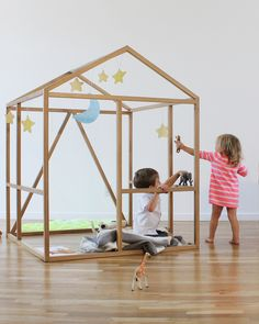 This simple design is rich in possibilities.  The clean and open structure supports imaginary play, and easily accepts additional props and materials.  The openness provides adults a clear view into the child's play and invites collaboration.  Its overall lightness fits well even in small spaces.