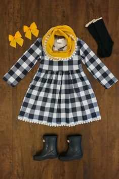 Black/White Plaid Dress with Mustard Scarf