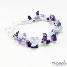 Aquamarine and Amethyst Crochet Wire Jewelry by magsbeadscreation, $33.00