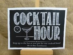"""This fun """"Cocktail Hour"""" sign would make a great addition to your wedding! A great way of letting your guests know about your cocktail hour. Blackboard Menu, Chalkboard Signs, Chalkboard Ideas, Printable Wall Art, Coffee Printable, Fun Cocktails, Drinks, Bar Signs, Painted Signs"""