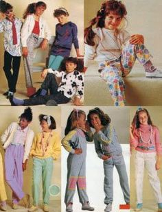 Children's Fashions from the 1980s. During the 1980s many garments reflected adult styles. Dresses were made from Simplicity pattern catalogs and came in pastel colors. It is important to note that licensed cartoon characters started to become an important element in children's clothing during this time.