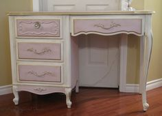 French Provincial Desk painted in Annie Sloan Antoinette and Old White Chalk Paint.  Accented with Gold Gilding Wax.