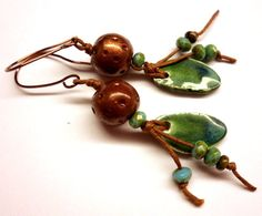 Earthy, Bohemian Earrings, Ceramic, Polymer clay, Czech glass by Salakaappi on Etsy