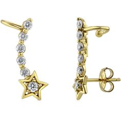 BERRICLE Gold Plated Sterling Silver CZ Star Fashion Cuff Earrings ($37) ❤ liked on Polyvore featuring jewelry, earrings, clear, ear cuffs, women's accessories, sterling silver ear cuff, cubic zirconia earrings, sterling silver earrings, sterling silver post earrings and star ear cuff