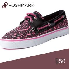 Sperrys Black and pink sperrys. Worn a few times but in good condition. Sperry Shoes