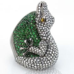 Carat Diamond, Carat Green Garnet and 18 Karat White Gold Alligator Ring – Kodner Galleries Colombian Emeralds, White Gold Rings, Garnet, Diamond Jewelry, Gemstone Rings, Bronze, Antiques, Galleries, Silver