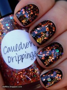 Glitter Nails- perfect for fall. The orange sparkles  remind me of leaves!