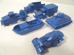 MARX MILITARY LOADS RR LOAD OR PLAYSET 6-PC BLUE O-GAUGE #X4860