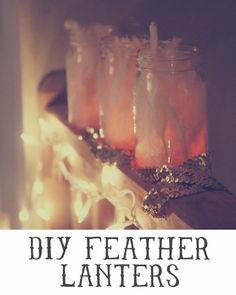 Feather Lantern - so unique! Great for #ShabbyChic Decor - mason jar, feathers, flameless candle - easy #Candle #Craft - pb†å