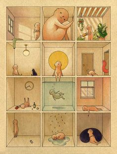 Rooms Mini Art Print by Felicia Chiao - Without Stand - x Arte Indie, Aesthetic Art, Oeuvre D'art, Cute Art, Art Inspo, Watercolor Art, Art Drawings, How To Draw Hands, Illustration Art