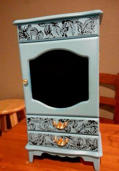 Black and Light Blue Upcycled Jewelry box with leaf pattern