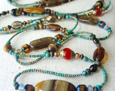 "TIGER IRON Long Boho 66"" Beaded Gemstone NECKLACE Turquoise base Tibetan Nepalese Beads, Czech Glass Beads,Artisan Bracelets of Blue Ridge"