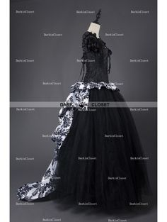 Rose Blooming Romantic Gothic Corset Victorian Style Long Prom Gown