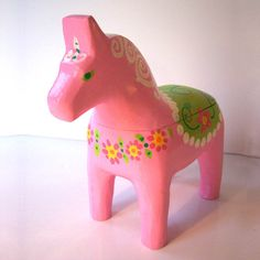 Swedish Dala Horse Box Pink by GoodWoodDogs on Etsy, $50.00